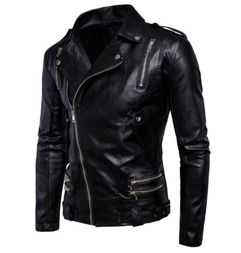 New Retro Vintage Motorcycle Jacket Mens Spring Autumn PU Leather Sash Zipper Biker Punk Classic Turn Down Collar Size M 5XL in Jackets from Automobiles Motorcycles