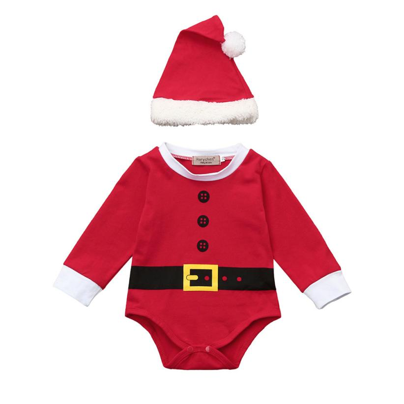 2017 Baby Kids Clothes Set Christmas Santa Newborn  Girls Boys Outfits  2Pcs Rompers+Hat Fashion Cotton BFOF