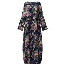 2019 ZANZEA Women Chinese Style Autumn Long Sleeve Vintage Floral Print Cotton Party Long Maxi Dress Baggy Kaftan Vestido L-5XL