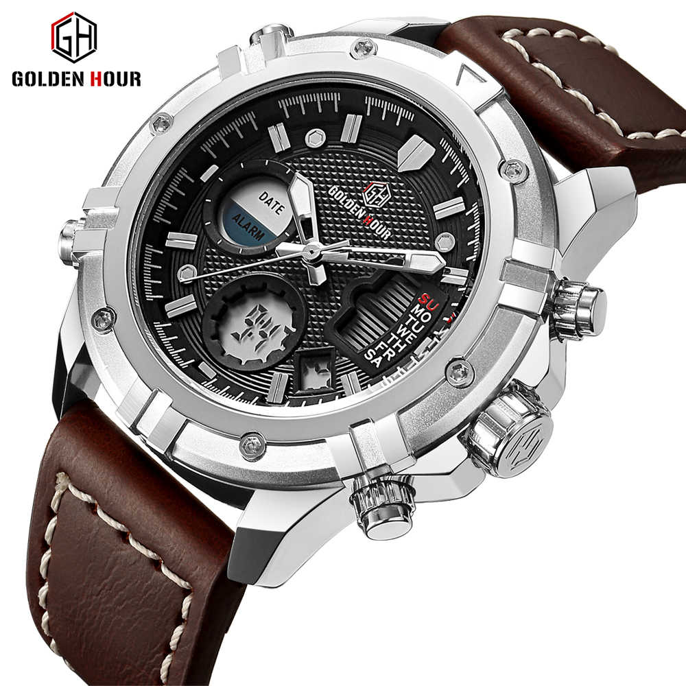 GOLDENHOUR Mens Watches Top Brand Luxury Quartz Analog Digital Watch Men Leather Military Sport Wristwatch Man Relogio Masculino