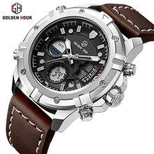 GOLDENHOUR męskie zegarki Top marka luksusowy zegarek analogowo cyfrowy kwarcowy mężczyźni skórzany wojskowy sportowy zegarek człowiek Relogio Masculino