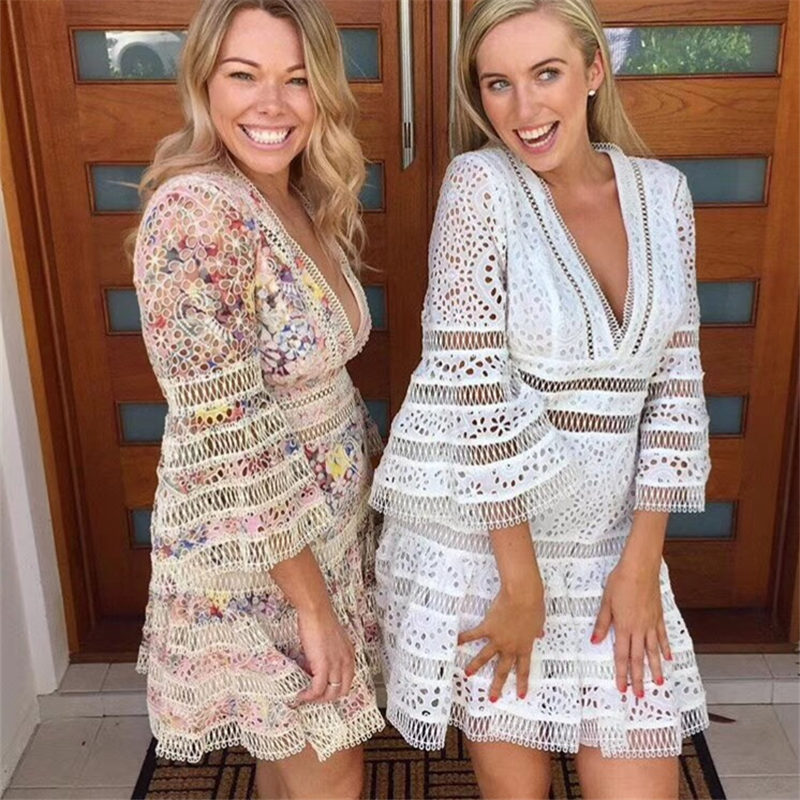 high quality summer dress women mini dresses Vintage Embroidery Floral hollow out Three Quarter Flare Sleeve V-Neck 2018 new vintage mini flare dress