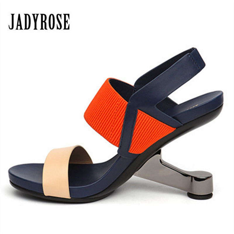 Jady Rose New Summer Sandals Metal Strange High Heel Leather Wedding Dress Party Shoes Woman Pumps Gladiator Open Toe Slippers new arrival pvc transparent shoes woman open toe clear strange heel pumps woman fashion party shoes