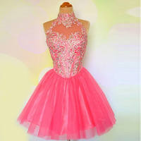 2016 Cute Juniors Hot Pink Graduation Dress Crystal Tulle Short For Prom Girls Party With Embroidery