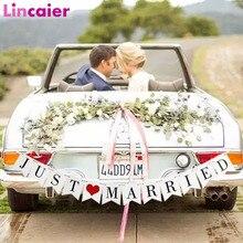 a9d20044a53739 Lincaier biały Just Married ślub samochód dekoracji papieru stroną Banner  trznadel Home Decor girlanda dostarcza serce materiał