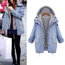 Women New Winter Detachable Hooded Long Jacket Coat Denim Parka Outwear