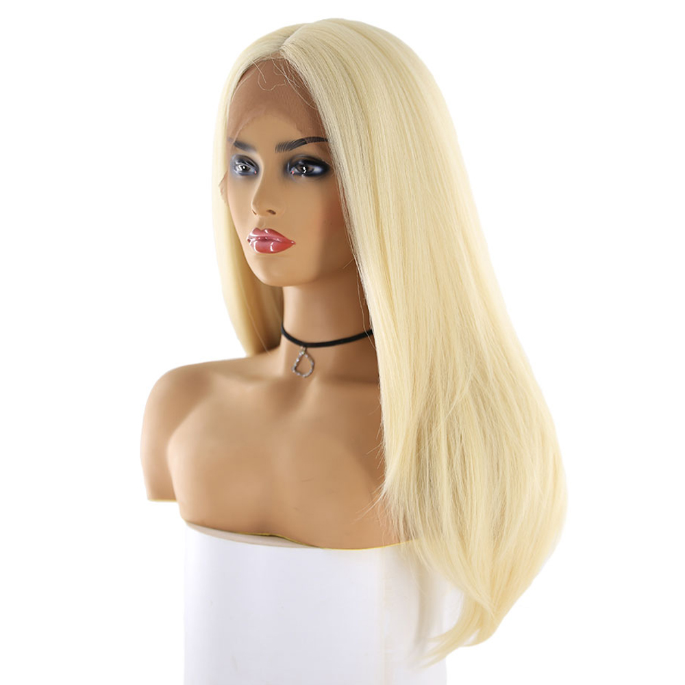613 Blonde Synthetic Hair Wigs For Women X TRESS Long Straight Swiss Lace Front Hairpiece Middle Part Trendy Cosplay Lace Wig-in Synthetic Lace Wigs from Hair Extensions & Wigs    3