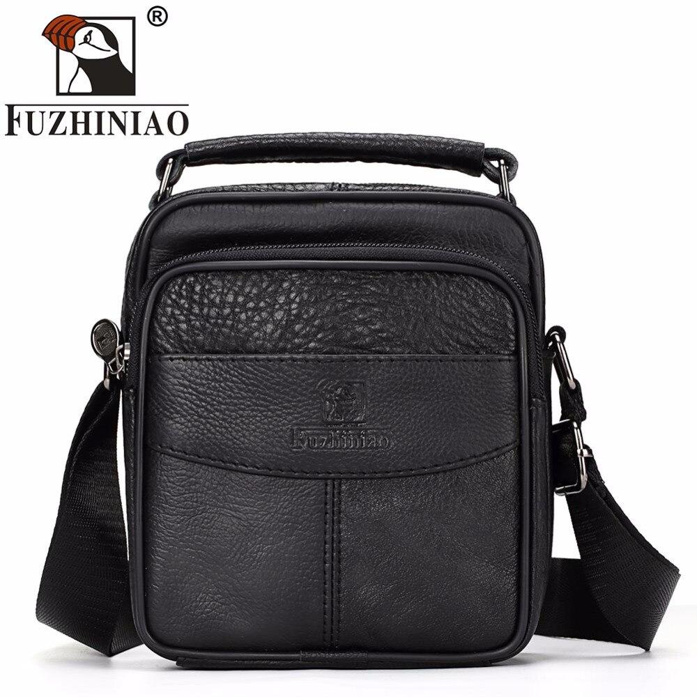 FUZHINIAO Messenger Bag Men 100% Genuine Leather Small Cowskin Male Bags Vintage Men's Cowhide Shoulder Crossbody Bag