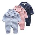 A roupa do bebê romper infantil manga longa primavera lapela algodão primavera