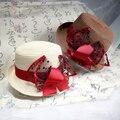 2016 Vintage Новый Летний женская соломы свинины pie hat господа плоские фетровых купол шляпы соломенная шляпа-котелок с лентой