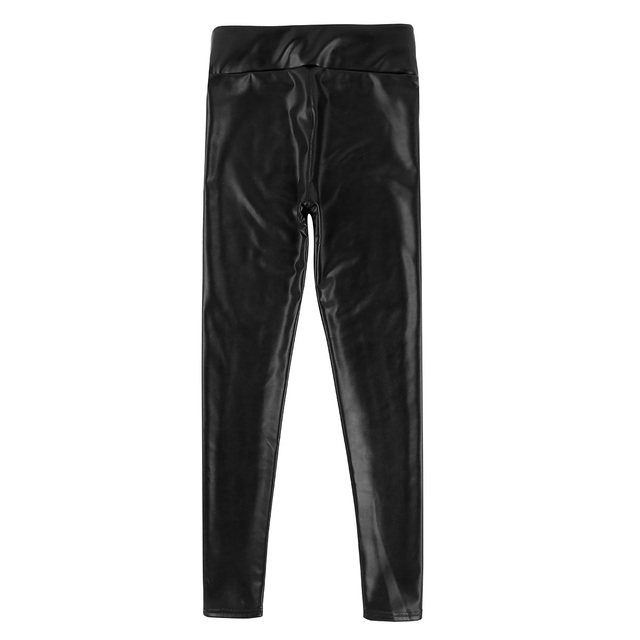Mens Clothing Sexy Pants Male Wetlook Jockstraps PU Leather Thin Velvet Lining Bulge Pouch Pants Leggings Muscle Tights Pants 4