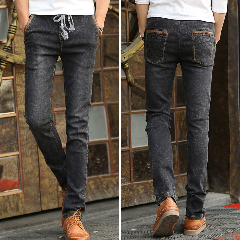 2016 Autumn and winter new men's jeans pants Korean style influx Gray casual trousers cool stretch man pants