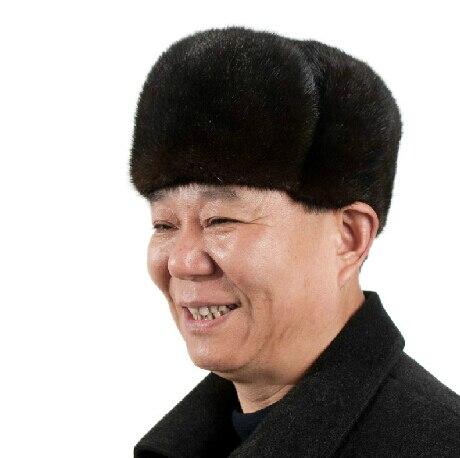 Высший сорт полный норки меховая шапка старик зимняя шапка мода пожилых шляпы меха шапки