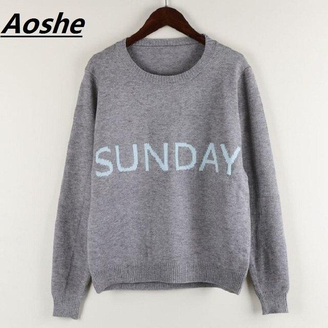 Aoshe Fashion Week Women Sweater Chic Knitting Jumper Monday Tuesday