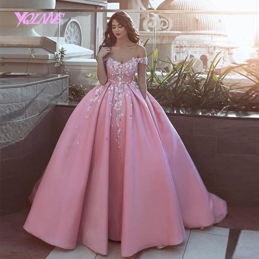 YQLNNE Pink Arabic Ball Gowns Wedding Dress 2019 Bridal