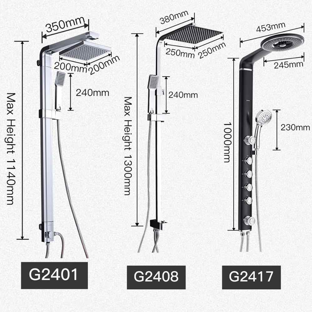 GAPPO أدوات دش الحمام مجموعة حمام دش الحنفية الحائط صنبور خلاط دش الجدار مجموعة شلال ABS لوحة تدليك GA2401