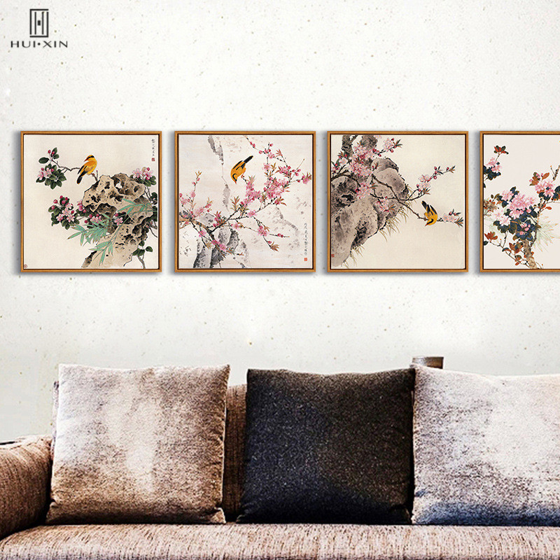 Traditional Chinese Style Canvas Paintings Watercolor Different Birds Rest On Banches With Rock Decorative Pictures For Home