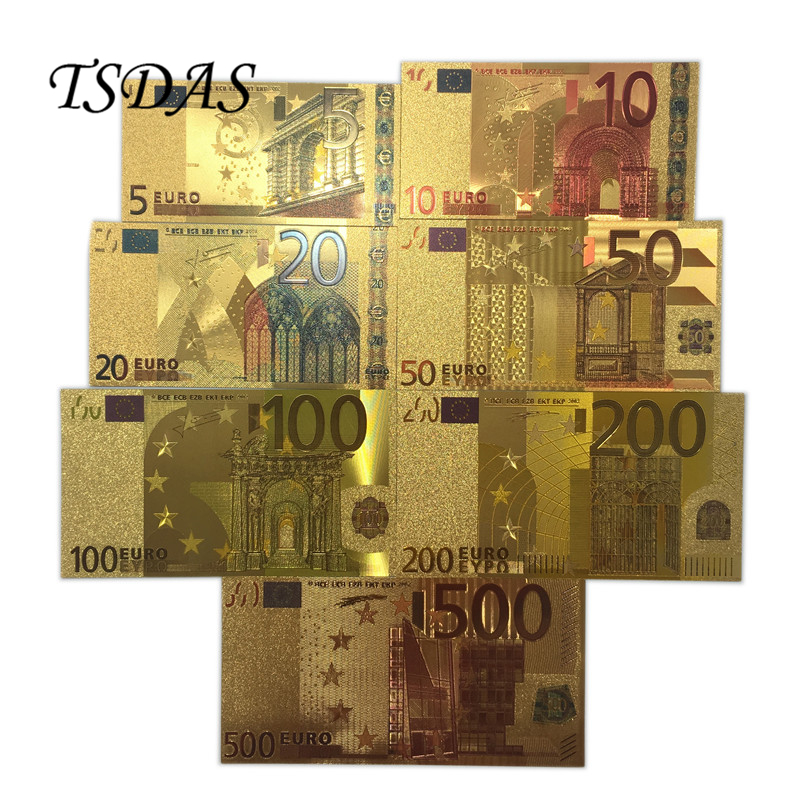 Ensembles complets 24K Gold Banknote Euro 5-500 Gold Foil Banknote 7pcs / lot as Business & Christmas Gifts