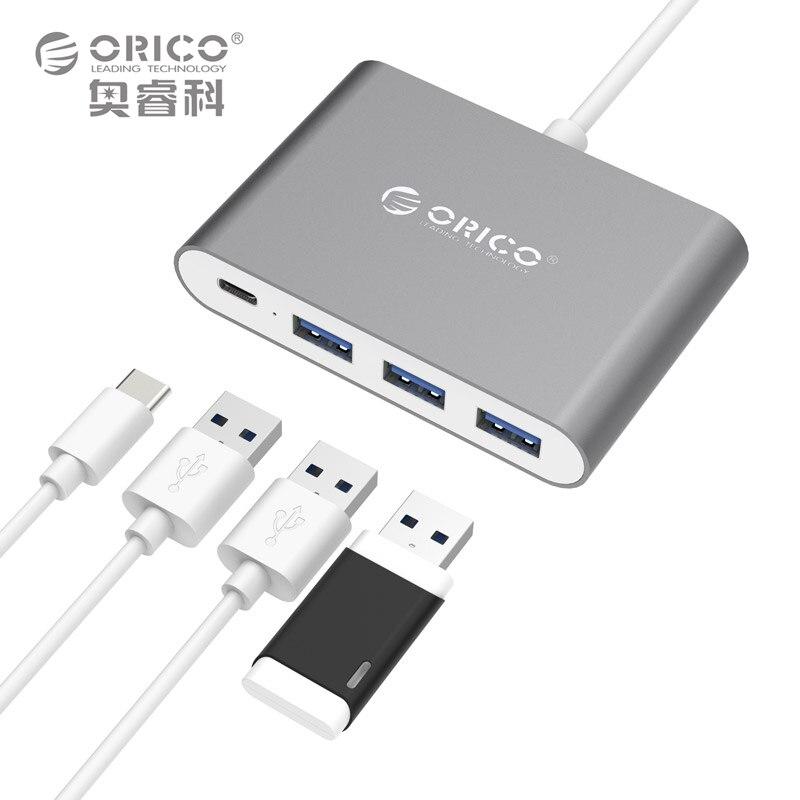 все цены на ORICO Aluminum Type-C HUB with 1 Type-C 3 Type-A Ports Support OTG / PD Charging for Macbook Mi Huawei Type-C Laptops онлайн