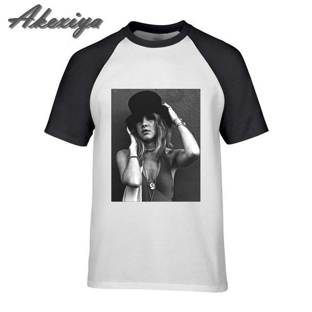 Stevie Nicks Top Hat T Shirt Men Short Sleeve Crewneck Loose