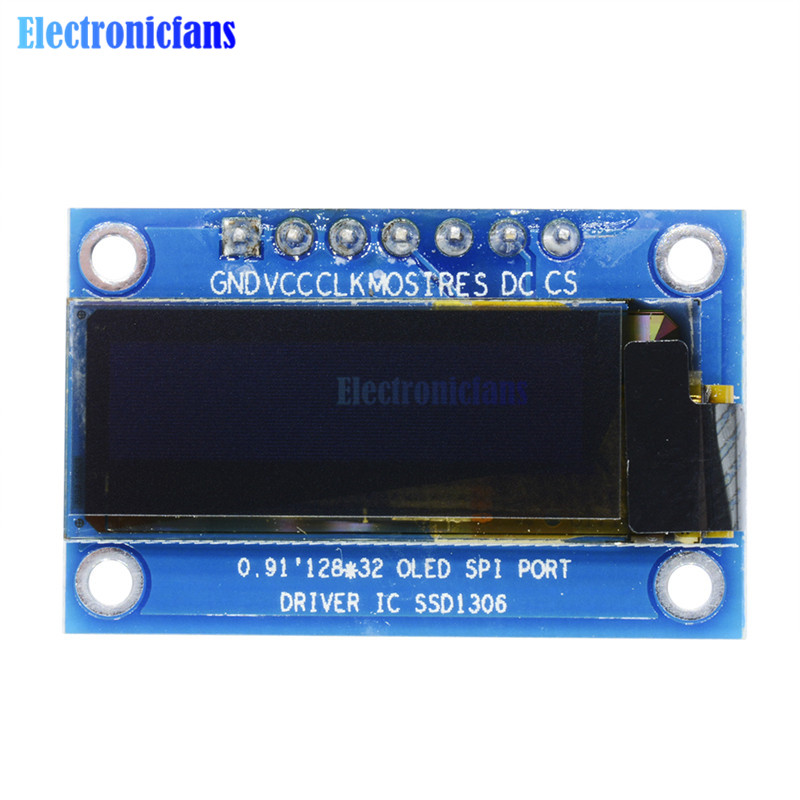 US $1 97 13% OFF 0 91 Inch White OLED LCD Display SPI 128x32 DIY Module  SSD1306 Driver IC For Arduino PIC DC 3 3V 5V-in LCD Modules from Electronic