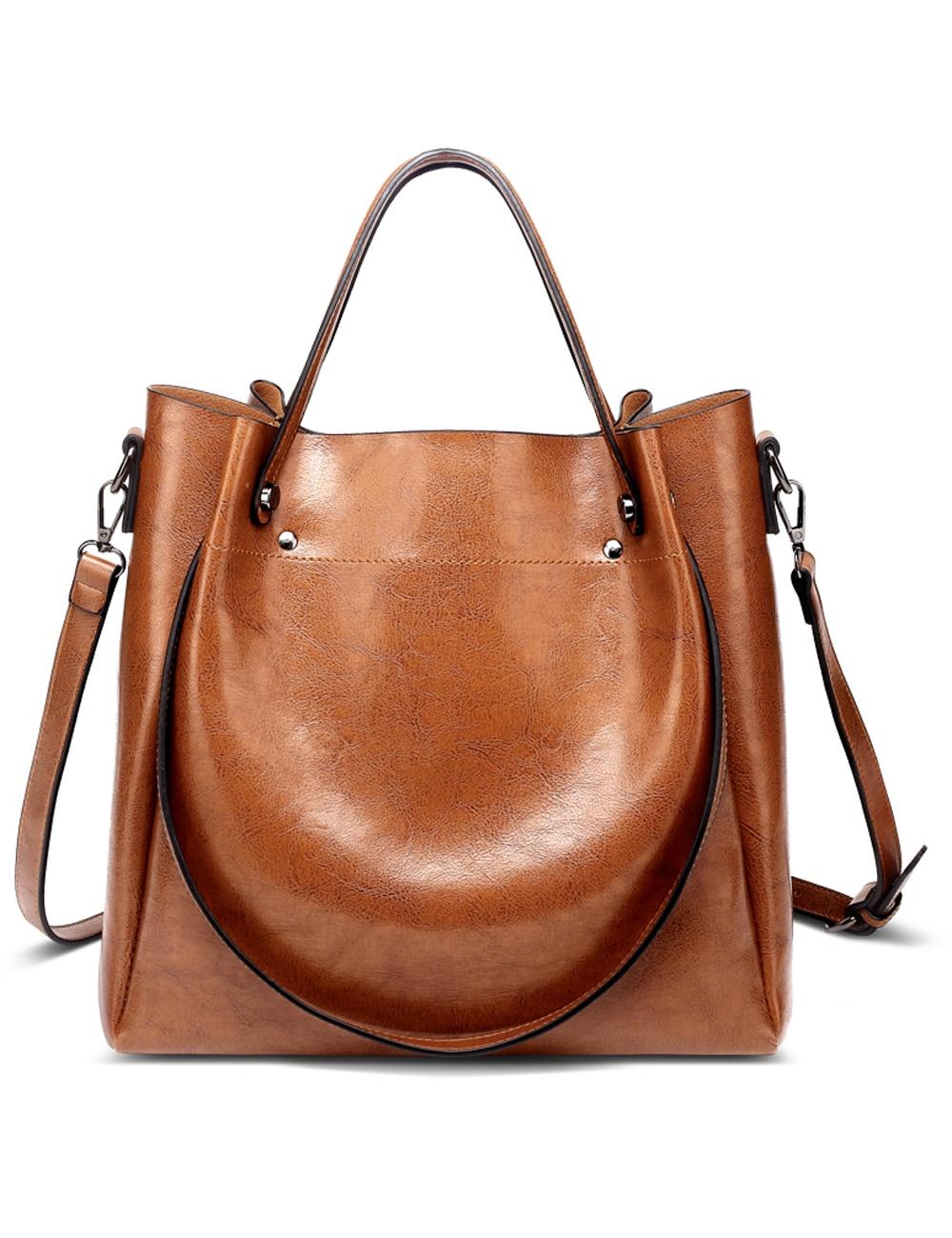 Menschwear Women Handbag Shoulder Bags Oil Wax Women Leather Handbags Bucket Bag Female Crossbody Bag bolsa feminina LSH042 oil wax cow leather handbag brand 2018 bolsa feminina new women 100