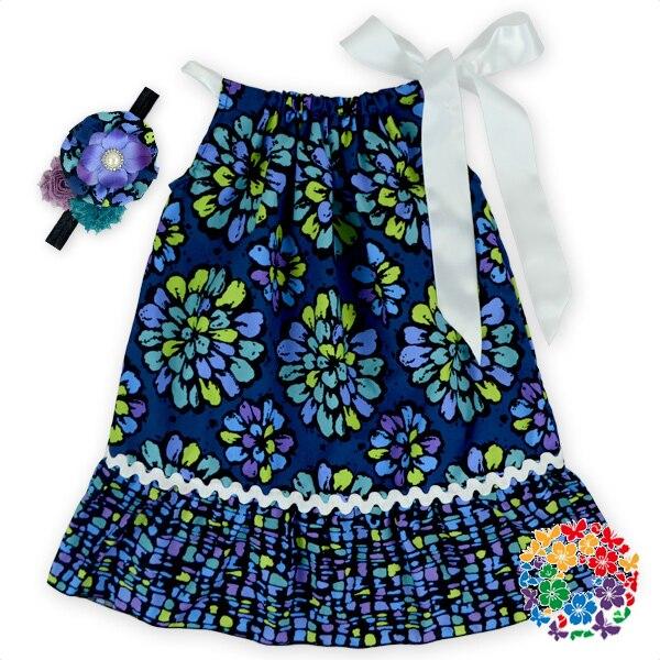 marine couleur motif floral coton tissu enfant taie d oreiller robe enfants beau modele enfants