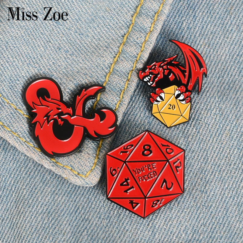 20 Sided Dice Dungeons And Dragons Enamel Pin Custom Brooches Bag Clothes Lapel Pin Button Badge D20 DnD Game Jewelry Gift