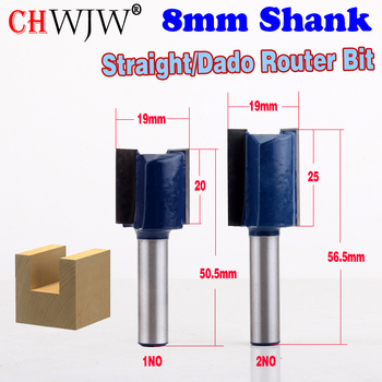 1pc 8mm Shank high quality Straight/Dado Router Bit - 3/4W x 20mm,25mmH Straight end mill trimmer cleaning flush trim