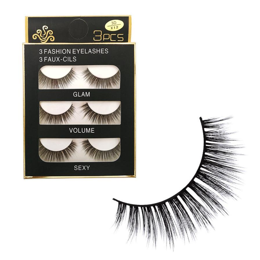 Beauty 3Pair Fake eyelashes Luxury Real 3D Soft Long Natural Eye Lashes Makeup Thick False Eyelash Extension makeup tools may29