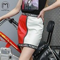 Margin Streetwear Women's Patchwork leather Letter Saia long Skirt Casual zipper Aline mini Ladies High Waist etek skirts womens