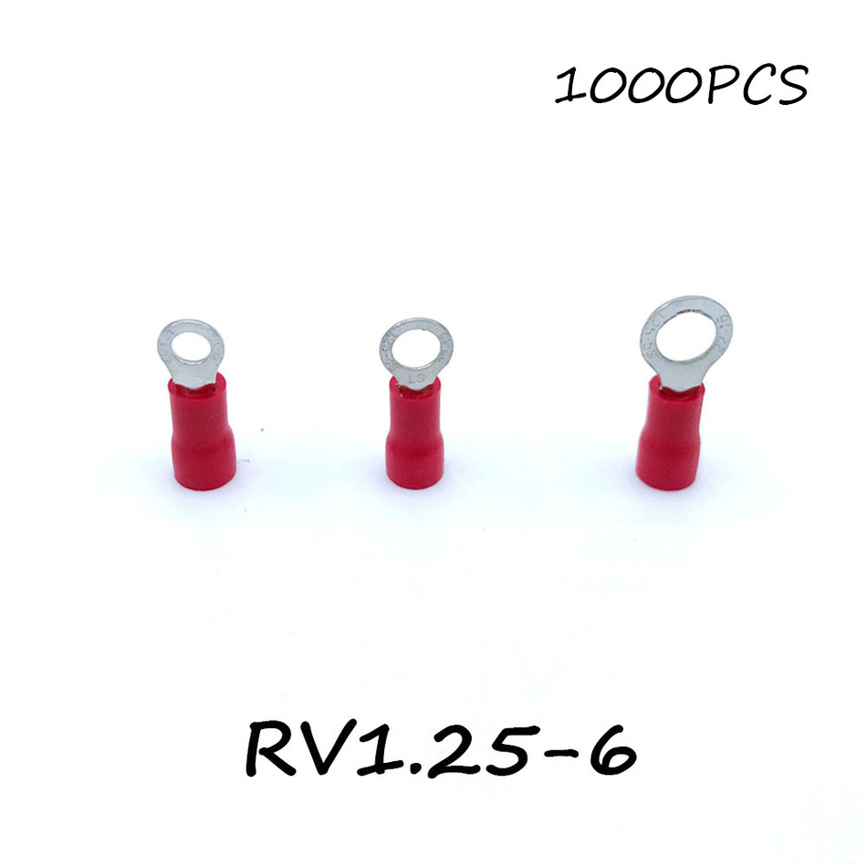 Ring Insulated Connector Terminal Block 1000PCS RV1.25-6 Red Cable Wire Electrical Crimp Terminator A.W.G 22-16 Cap