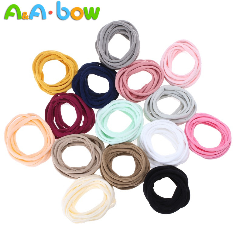 100pcs Pack Super Soft Stretchy DIY Nylon Headbands Bulk Hair Bands One Size Fits All Newborns Infants Baby Girls Toddlers Kids