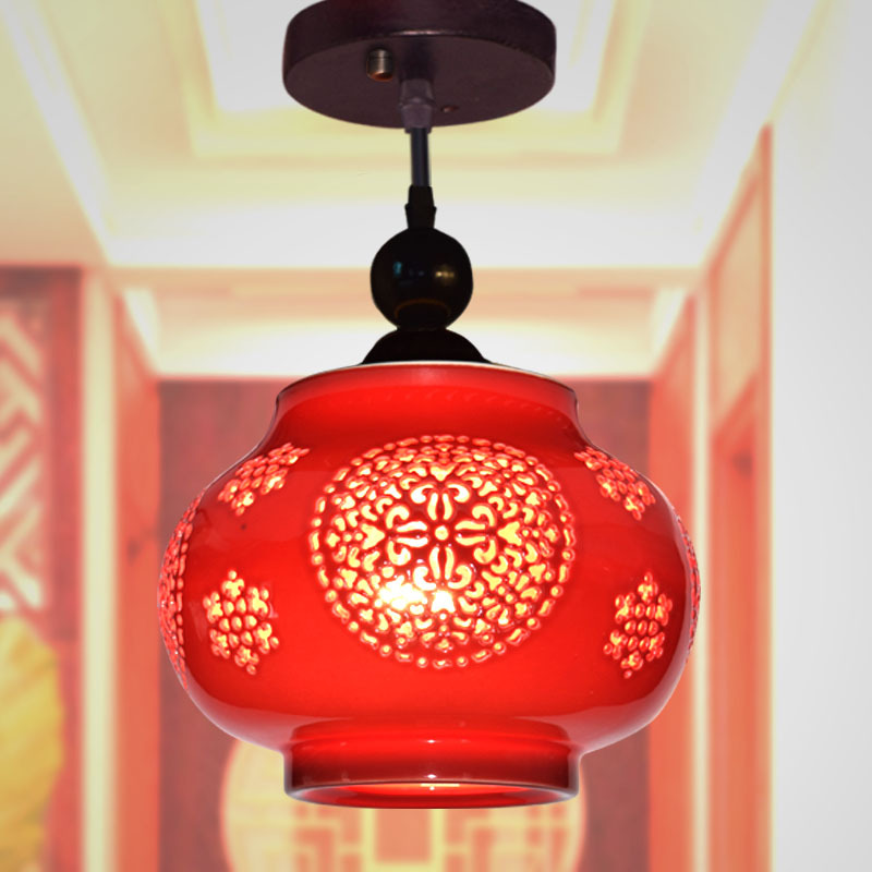 Chinese Lamps Chinese Red Ceramic Aisle Corridor Window Porch Balcony Ceiling Lamp Single Head Chandelier
