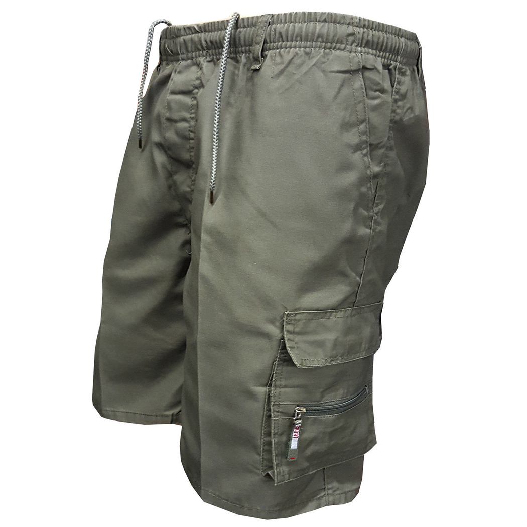 2018 verano hombres Multi bolsillo militar Cargo Shorts algodón Casual rodilla suelta ejército Mens Tactical Shorts Homme Sweatpants