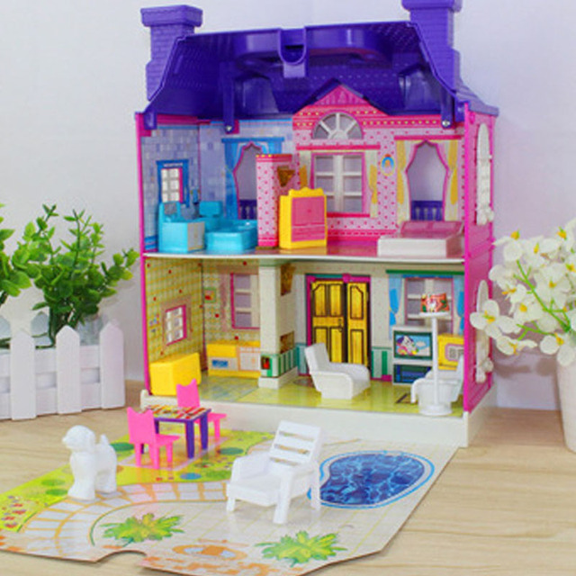 Realistic 3D Plastic Doll House with Furniture