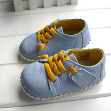Wholesale trade of genuine leather baby boys soft anti-skid toddler shoes fashion light blue color 1005-BL free shipping