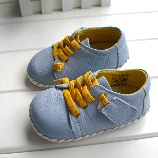 2019  OMN Brand Genuine Leather Shoes Indoor Baby Shoes Boys Girls Soft Anti-skid Toddler Shoes Fashion Light Blue First Walkers