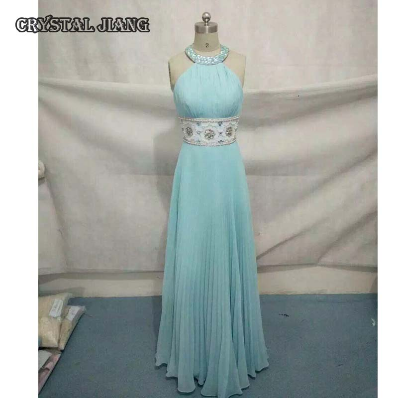 Light Blue Chiffon Long   Bridesmaid     Dresses   Beaded Halter Neck Full Length Backless 2018