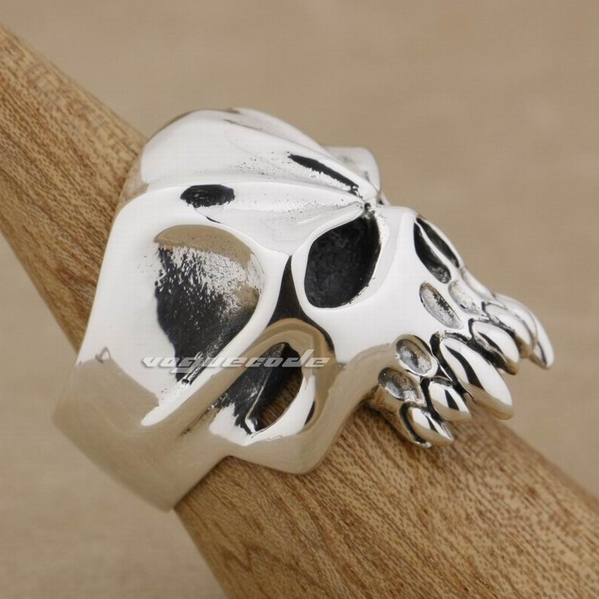 925 de plata esterlina enorme y cráneo pesado Biker Rocker Punk anillo 9M004 nos tamaño 8 a 13 - 3
