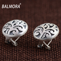 BALMORA Vintage Style 100% Real 990 Pure Silver Jewelry Clip Earrings for Women Lover Party Gifts Aretes Free Shipping SY31315