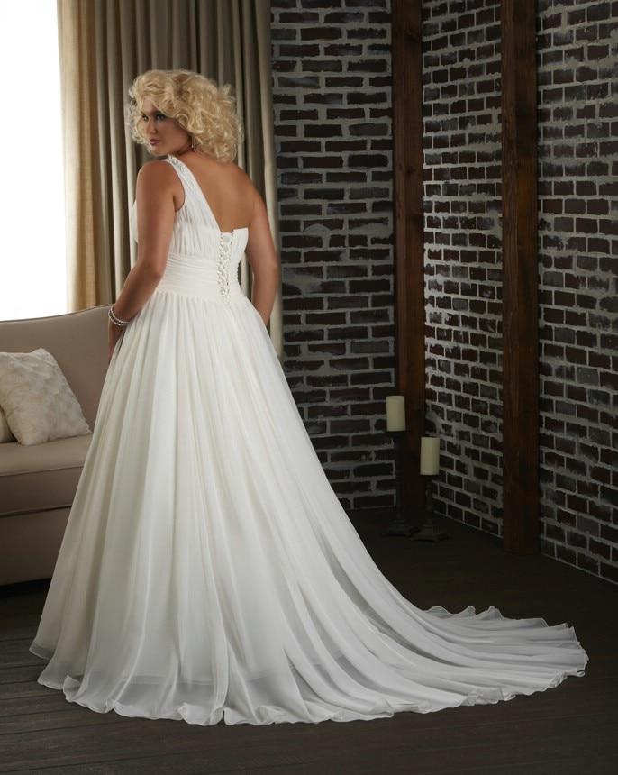 One Shoulder Long Ivory Chiffon Wedding Dress Plus Size Inexpensive ...