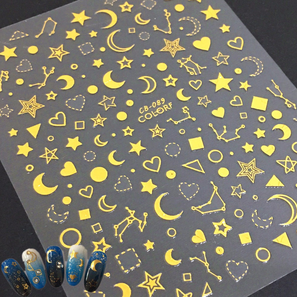 Newest CB-089 Golden moon star 3d nail art sticker nail decal Nail decoration decal tool DIY nail manicure