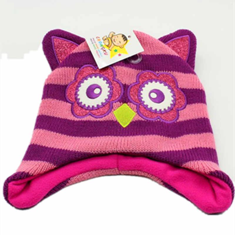 Cartoon Animals night owl Knitting Cotton Beanies Cap Plush Winter Warm  Cute Black Cat Hat Cartoon feabc33b83d5