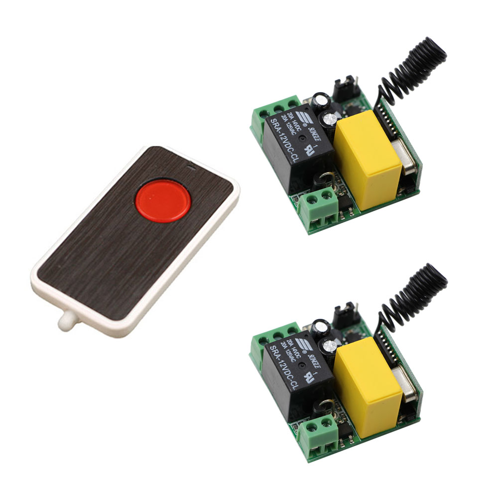 2017 New RF Mini Wireless Remote Light Control AC 220 V 1 CH 2* Receiver with Black Case+1*Transmitter Lamp light lamp led bulb wireless remote control switches rf ac 220 v 10 a 1 channel transmitter with mini sizes receiver module