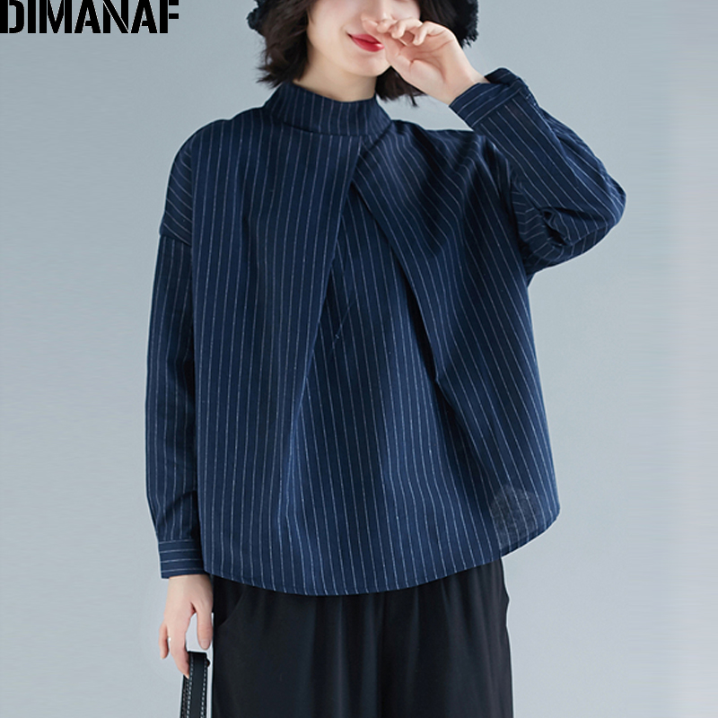 DIMANAF Plus Size Women   Blouse     Shirts   Office Lady Basic Tops Cotton Linen Female Clothes Loose Casual Spring 2109 Zipper Striped
