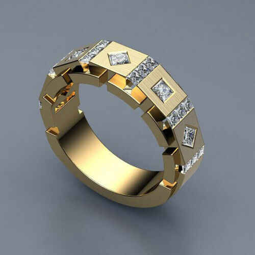 Fashion Geometric Rings Bijouterie Insert Crystal Rings for Women Punk Gold Square Ring Men Male Business Jewelry anillos hombre