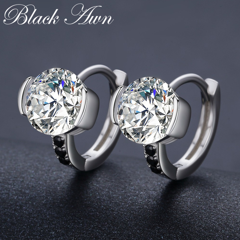 Black Awn 2019 New 925 Sterling Silver Round Black Trendy Spinel Engagement Hoop Earrings for Women Fine Jewelry Bijoux TTT201