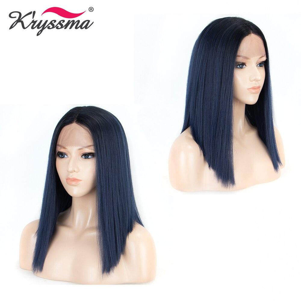 Perruques blondes pour femmes racines noires 4 ''longue séparation synthétique dentelle avant perruque T partie 2 tons courte perruque droite sans colle 6 couleurs - 5
