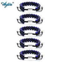 Ayliss New Wholesale Gem Stone Bracelet Natural Lava Rock Tiger Eye Stone Healing Crystals Handmade Macrame Adjustable Bracelets
